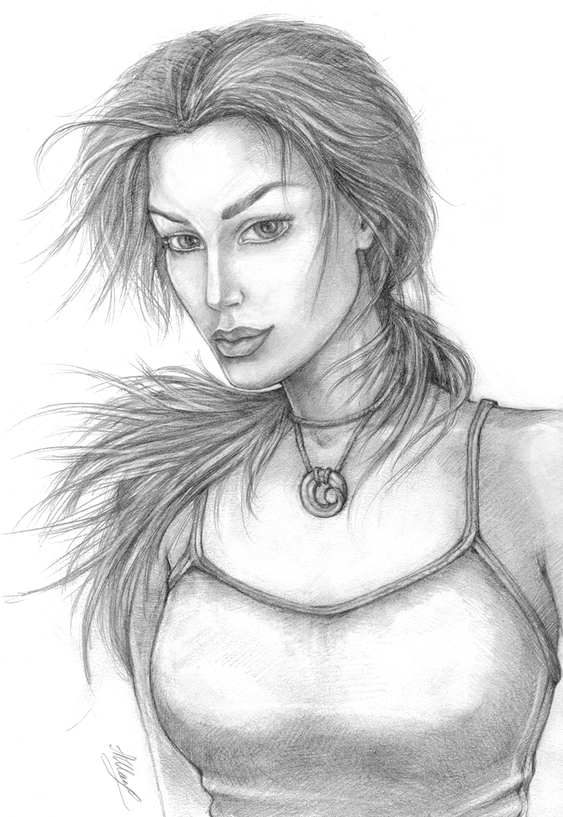 TR 9, Lara's portrait sketch by alineshenon