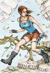 Lara runs through Jungle Temple (in color)