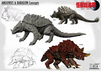 Anguirus and Baragon Concepts by LDN-RDNT