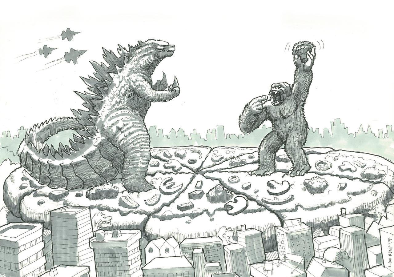 King Kong vs Godzilla on a Gigantic Veggie Pizza by LDN ...