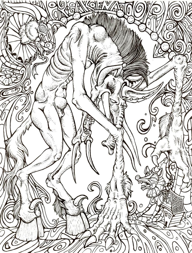 Lumbering horror lineart by xxiv on deviantart Horror coloring book for adults