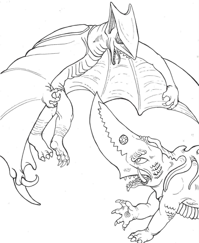 space godzilla coloring pages - kaiju lineart guiron vs space gyaos by yaginobaka on