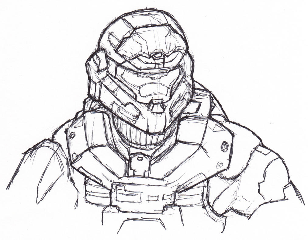 how to draw master chief easy