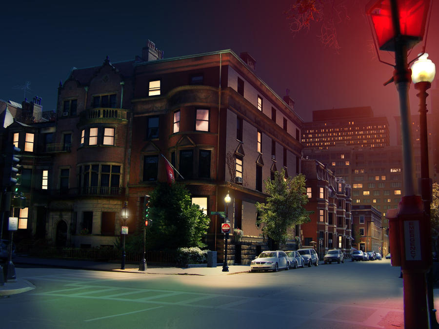 city street corner at night - photo #1