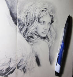 Angel drawing in progress