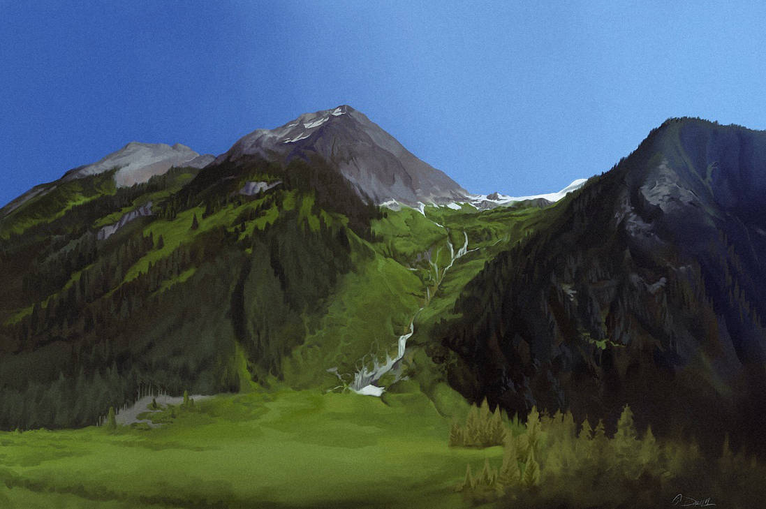 iPad mountain study by damie-m