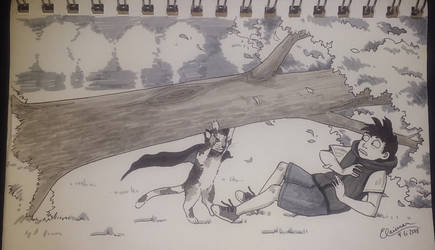 art trade: a cat rescuing a boy from a tree by Elaienar