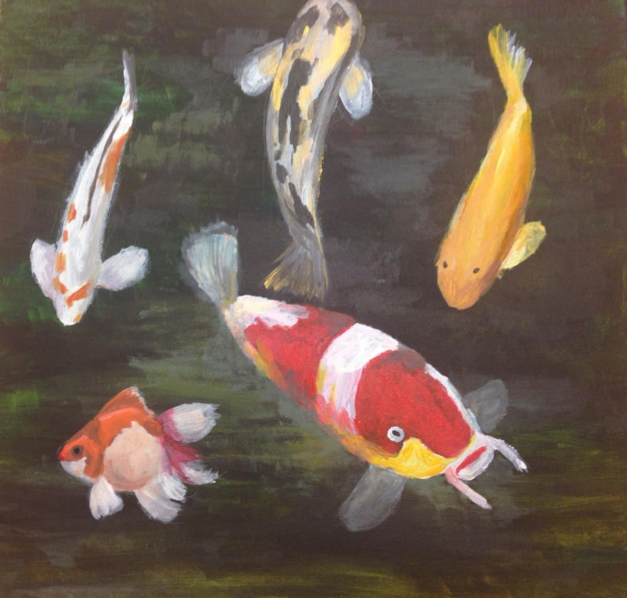 koi and one goldfish by elarnis