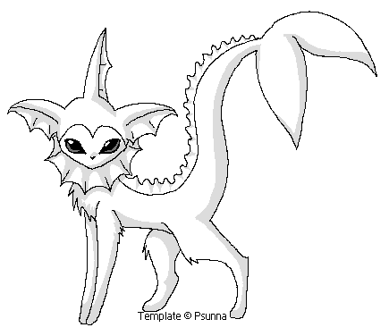 Vaporeon template by psunna on deviantart for Vaporeon coloring pages