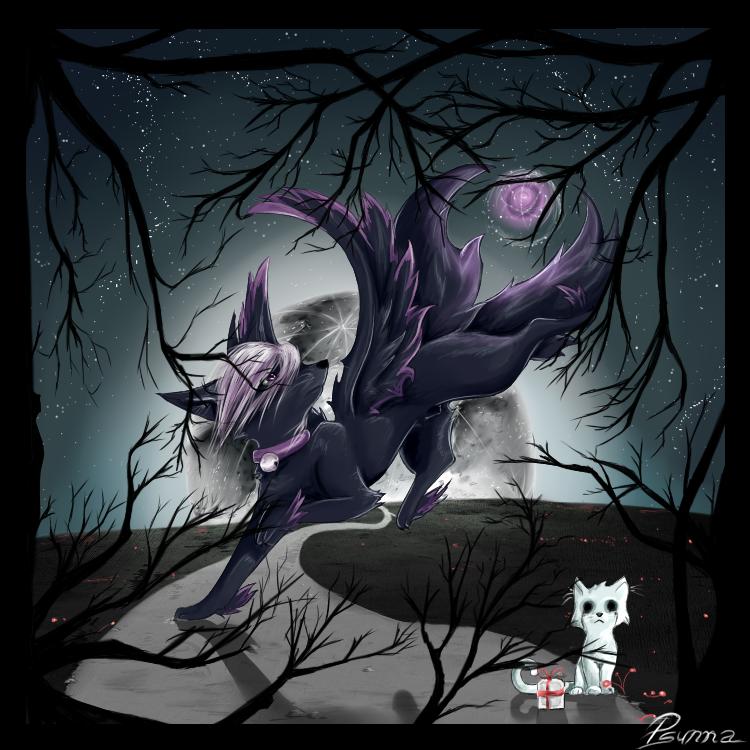 half fox demon zai by psunna on deviantart
