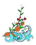 blossom + wave tattoo