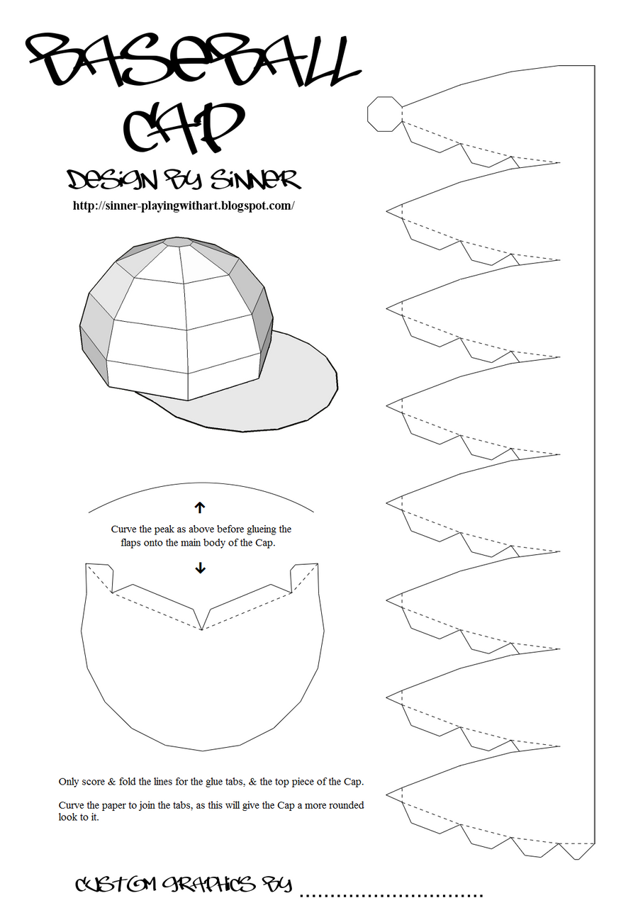 Paper baseball cap by sinner pwa on deviantart for Top hat template for kids