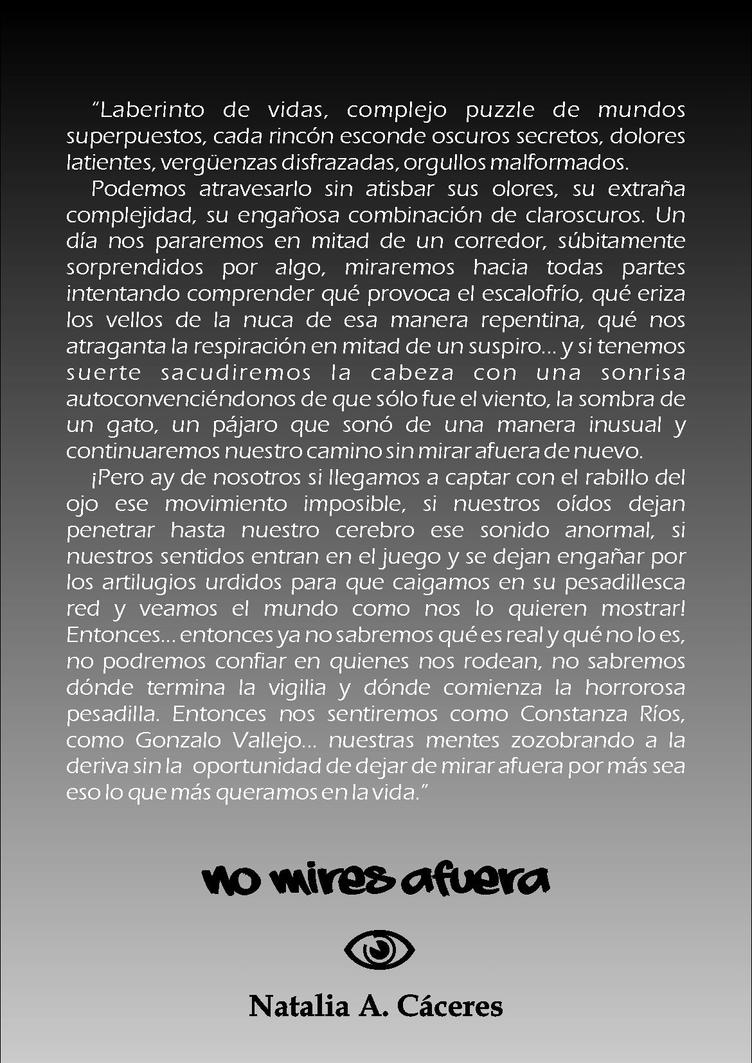 Contratapa 'No mires afuera' by Natushka