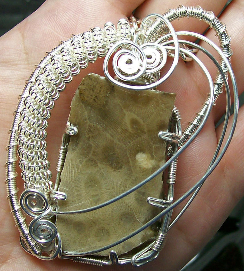 Petoskey Stone Silver Wire-Wrapped Pendant by ...