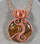 African Green Opal and Copper Woven Pendant