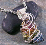 BOLD Bismuth Crystal and Silver Pendant