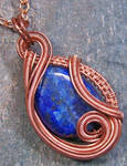 Lapis Lazuli and Copper Sculpted Coil Pendant