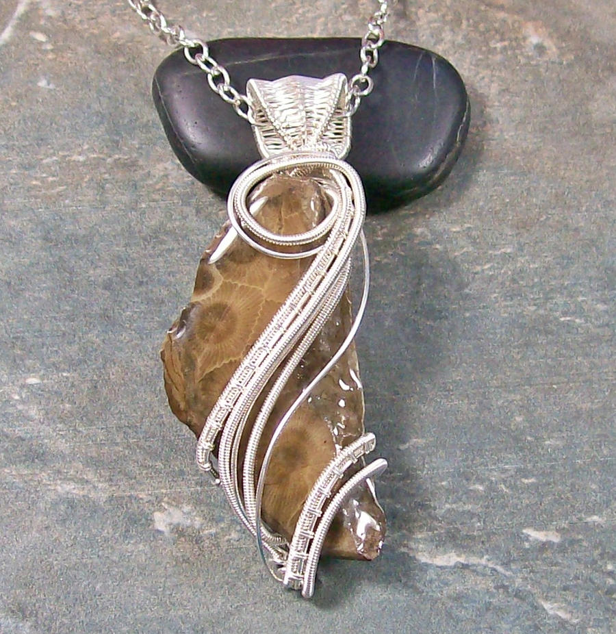 Petoskey Stone and Silver Wire-Wrapped Pendant by HeatherJordanJewelry