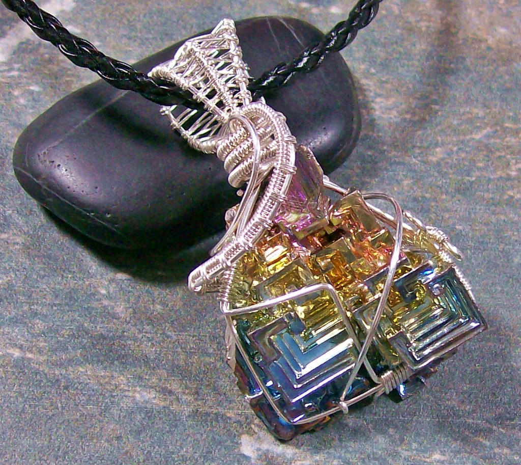 Bismuth crystal and silver wire wrapped pendant by heatherjordanjewelry bismuth crystal and silver wire wrapped pendant by heatherjordanjewelry aloadofball Gallery
