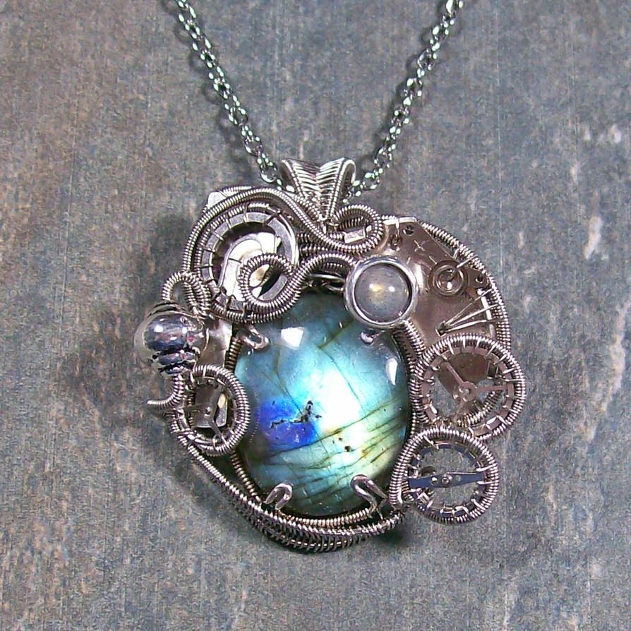 Labradorite And Dark Silver Steampunk Pendant By. Nature Necklace. Elven Rings. Emerald Cut Diamond Rings. Rare Wedding Rings. St Michaels Pendant. Mati Bracelet. Oval Watches. Black Metal Engagement Rings