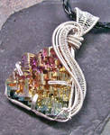 Woven Wire Bismuth Pendant in Silver- Sunset