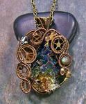 Steampunk Bismuth, Labradorite and Crystal Pendant