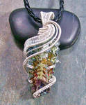 Bismuth Crystal Pendant in Silver- Rainbow Wave