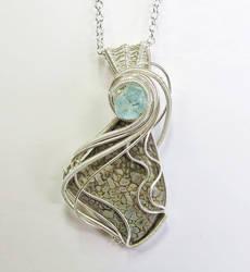 Dinosaur Bone with Aquamarine In Sterling Silver