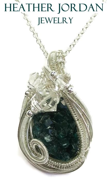 Dioptase pendant with herkimer diamonds in ss by dioptase pendant with herkimer diamonds in ss by heatherjordanjewelry aloadofball Gallery