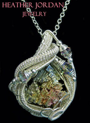 Wire-Wrapped Bismuth Crystal and Sterling Silver P