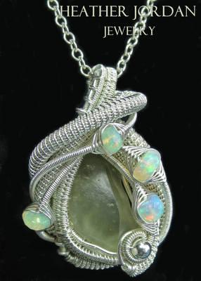 Libyan Desert Glass Pendant in Sterling S w Opals
