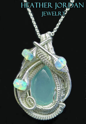 Aqua Chalcedony Wire-Wrapped Pendant in Sterling S