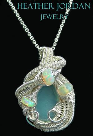 Aqua Chalcedony Wire-Wrapped Pendant in Tarnish-Re