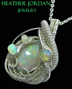 Wire-Wrapped Australian Opal Pendant Necklace in S