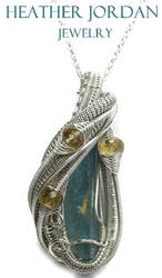 Aquamarine and Citrine Pendant in Sterling Silver