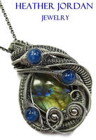 Labradorite and Kyanite Wire-Wrapped Pendant in SS by HeatherJordanJewelry