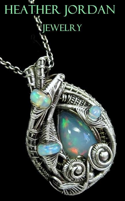 Wire-Wrapped Ethiopian Welo Opal Pendant in SS by HeatherJordanJewelry