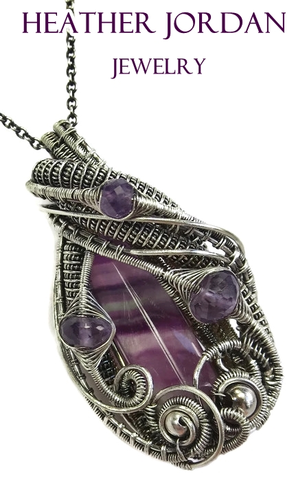 Fluorite Wire-Wrapped Pendant with Amethyst in SS by HeatherJordanJewelry