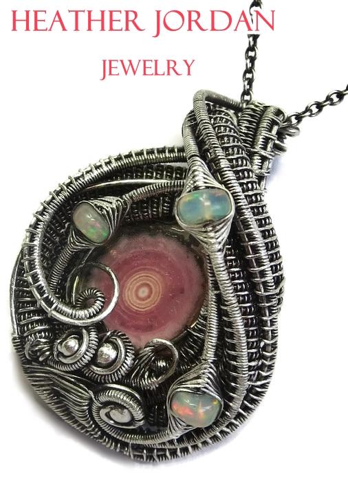 Rhodochrosite and Ethiopian Opal Pendant in Sterli by HeatherJordanJewelry