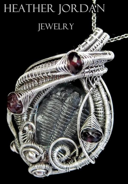 Wire-Wrapped Trilobite Fossil Pendant w Garnet by HeatherJordanJewelry