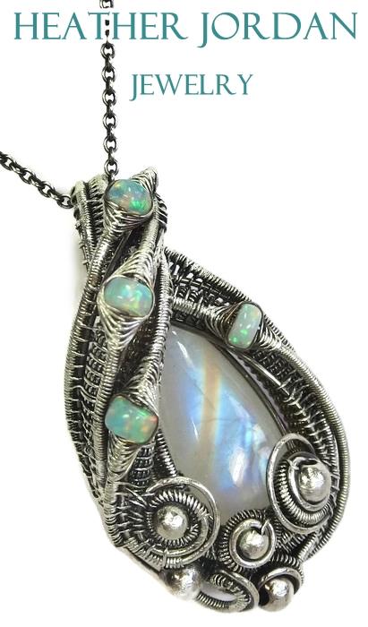 Rainbow Moonstone n Ethiopian Welo Opal Pendant in by HeatherJordanJewelry