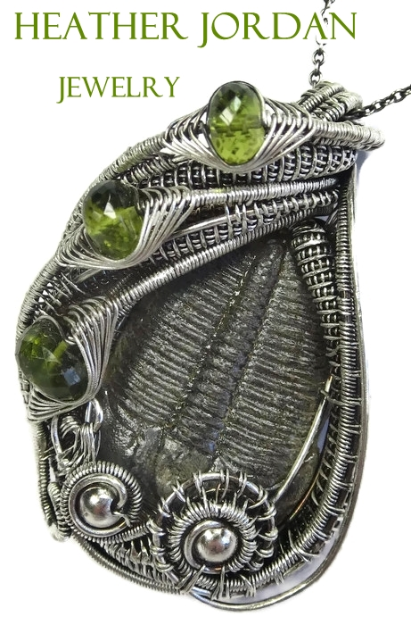 Trilobite Fossil n Peridot Wire-Wrapped Pendant in by HeatherJordanJewelry