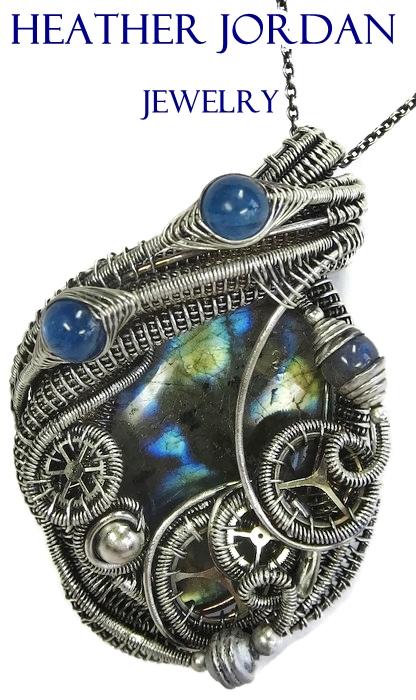 Steampunk Labradorite Pendant with Blue Kyanite in by HeatherJordanJewelry