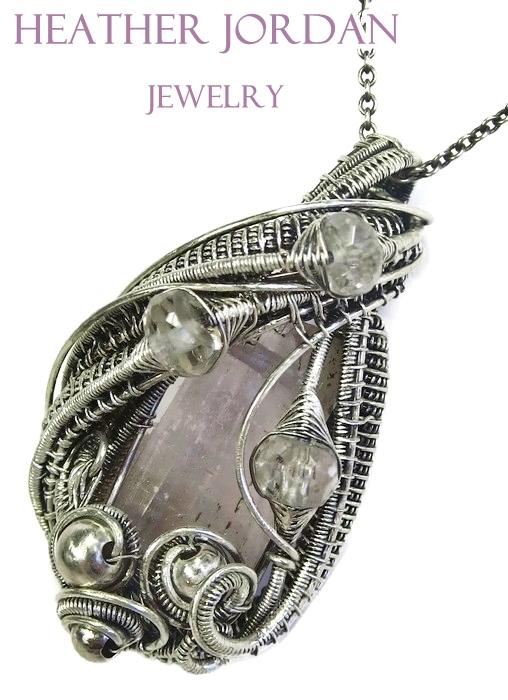 Wire-Wrapped Pink Kunzite Crystal Pendant in Antiq by HeatherJordanJewelry