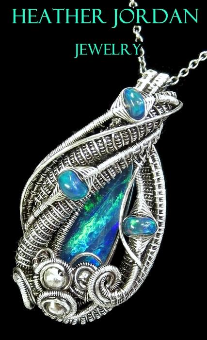 Australian n Ethiopian Opal Pendant in Sterling Si by HeatherJordanJewelry