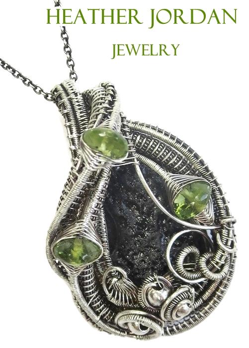Tektite and Peridot Wire-Wrapped Pendant in SS by HeatherJordanJewelry