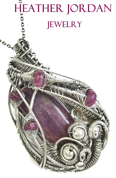 Ruby and Pink Sapphire Pendant in Sterling Silver by HeatherJordanJewelry