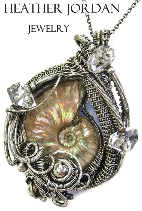 Opalized Ammonite Wire-Wrapped Pendant in SS w Her by HeatherJordanJewelry