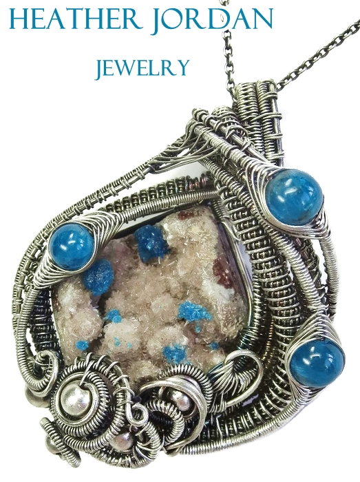 Cavansite/Stillbite Druzy Pendant w Blue Apatite by HeatherJordanJewelry