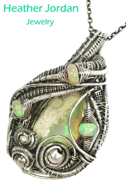 Ethiopian Desert Opal Wire-Wrapped Pendant in SS by HeatherJordanJewelry